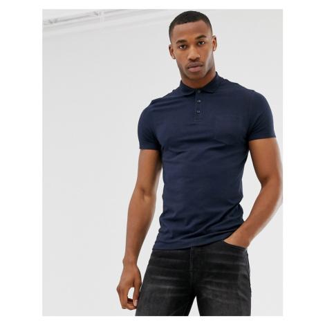 Burton Menswear muscle fit polo in navy