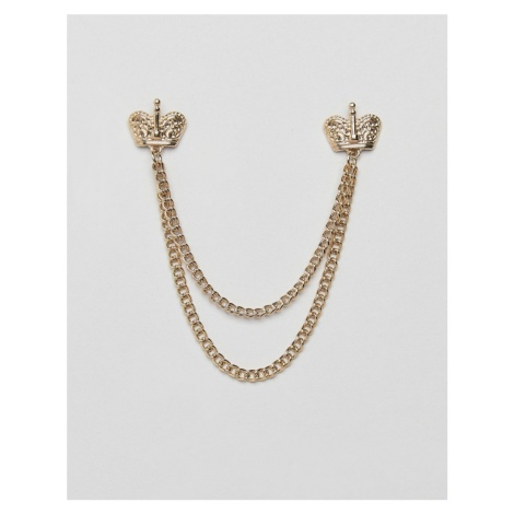 ASOS DESIGN collar tips in gold tone with crown
