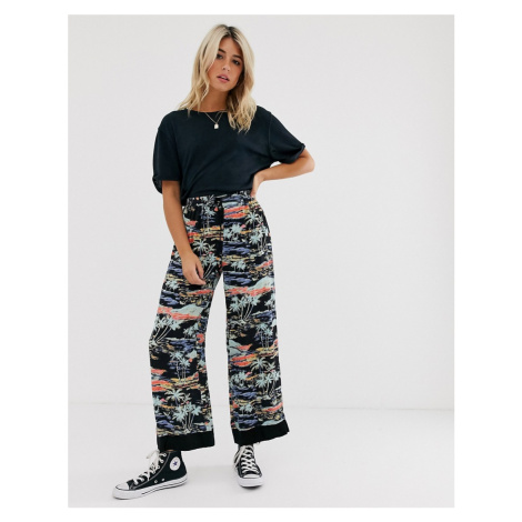 Free People Blue Lagoon graphic print wide leg trousers