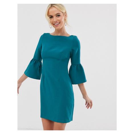Vesper flute sleeve shift dress