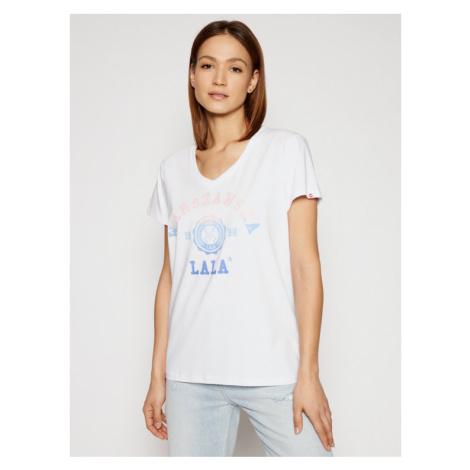 PLNY LALA T-Shirt Warszawska Lala PL-KO-VN-00111 Biały Relaxed Fit