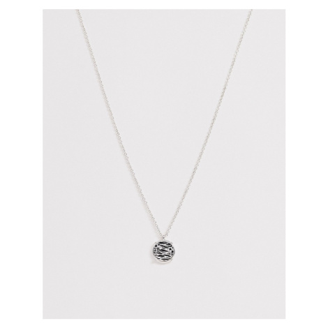 Icon Brand neck chain with coin pendant in silver