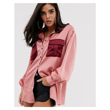 Missguided oversized satin shirt with contrast pockets in pink