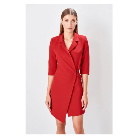 Trendyol Claret Red waist detailed jacket dress