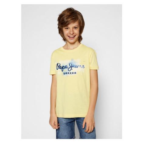 Pepe Jeans T-Shirt Golders Jk PB501338 Żółty Regular Fit