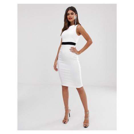 Vesper midi pencil dress in colour block