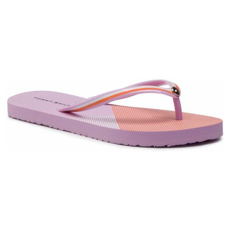 Japonki TOMMY HILFIGER - Flat Beach Sandal Stripe Print FW0FW04043 Pink Lavender 518