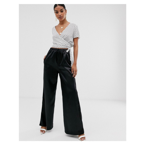 NA-KD wide leg satin trousers in black