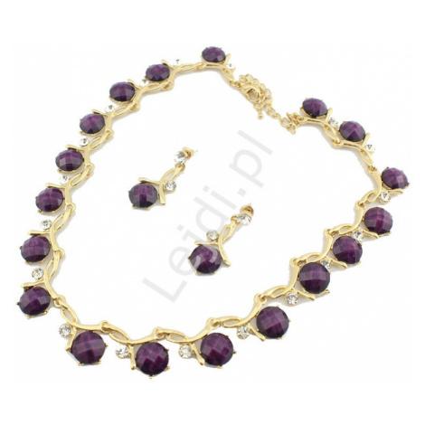 Komplet biżuterii w kolorze złota z śliwkowymi kamieniami i cyrkoniami, naszyjnik + kolczyki
