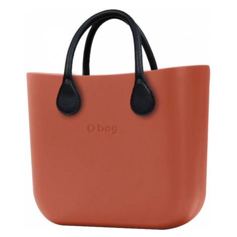 O bag torebka MINI Terracotta z krótkimi czarnymi uchwytami ze skajki