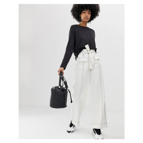 ASOS DESIGN wide leg trouser with tie waist and horn buttons