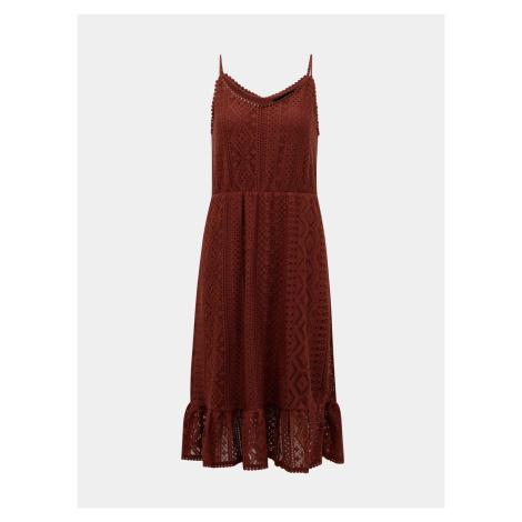 Brązowa koronkowa sukienka midi VERO MODA Lea