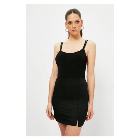 Trendyol Black Buttoned Cotton Satin Skirt