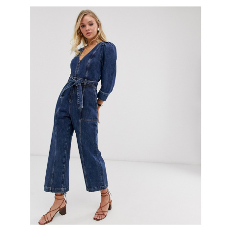 & other Stories deep v denim jumpsuit with tie waist in blue