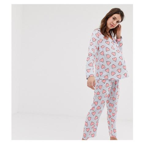ASOS DESIGN Maternity sketchy heart traditional pyjama trouser set