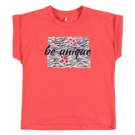 NAME IT Koszulka 'NBFJALIN' koralowy / czarny / różowy pudrowy