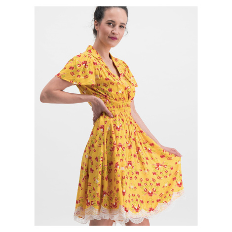Sukienka w żółte kwiaty Blutsgeschwister Sweet Mariandl
