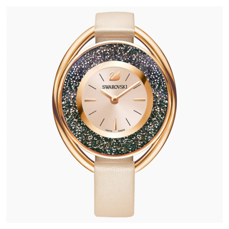 Crystalline Oval Watch, Leather strap, Beige, Rose gold tone Swarovski