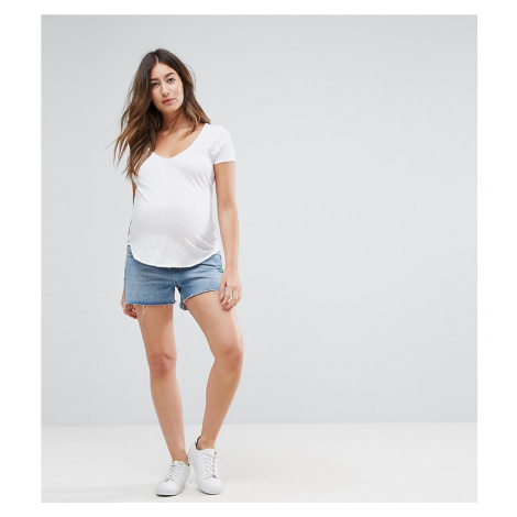 ASOS MATERNITY TALL Denim Shorts in Oxford Blue Wash