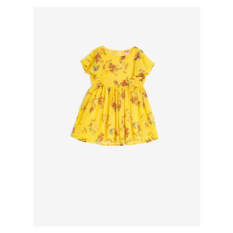 Koton Girl Yellow Short Sleeve Floral Dress