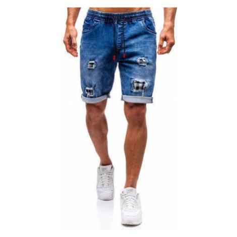 Krótkie spodenki jeansowe męskie granatowo-czerwone Denley HY328 RED FIREBALL