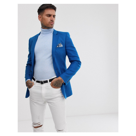 ASOS DESIGN super skinny blazer in royal blue linen