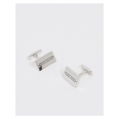BOSS Stev rectangle logo cufflinks in silver Hugo Boss