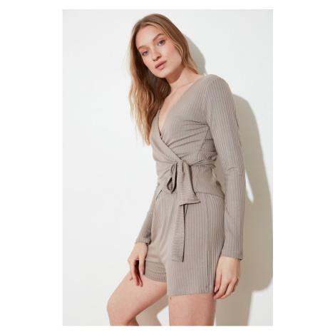 Trendyol Mink Binding Detailed Knitted Pyjama Set
