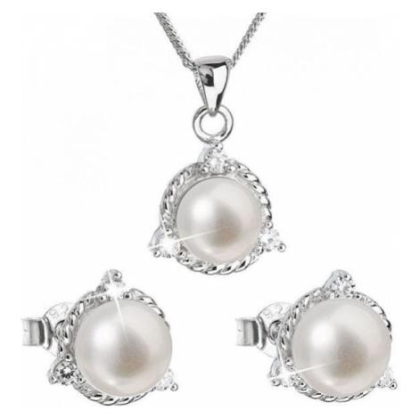 Evolution Group Luksusowy srebrny zestaw z prawdziwymi perłami Pavon 29033.1 srebro 925/1000