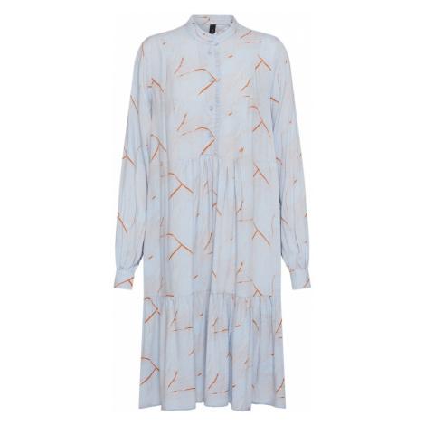 Y.A.S Sukienka koszulowa 'YASWAVES LS DRESS' podpalany niebieski / rdzawobrązowy