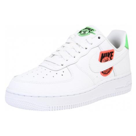 Nike Sportswear Trampki niskie 'Air Force 1' biały / czarny / jasnozielony / ciemnopomarańczowy