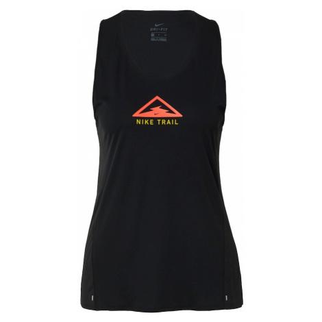 NIKE Top sportowy 'City Sleek' czarny / żółty / koralowy
