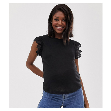 New Look Maternity broderie edge tee in Black