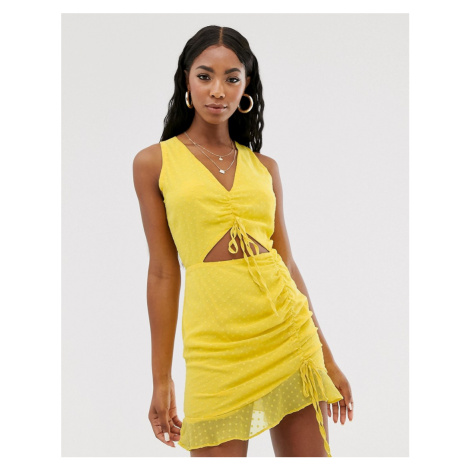 Lasula ruched mini dress with cutout detail in yellow