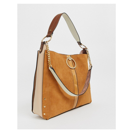 River Island slouch bag with ring detail in tan