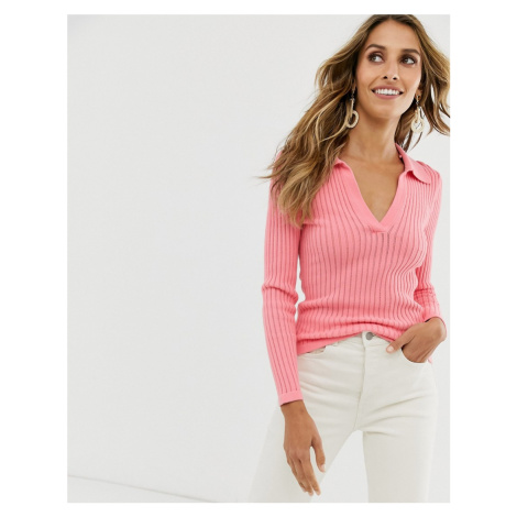 & Other Stories ribbed deep v knitted top in bright pink