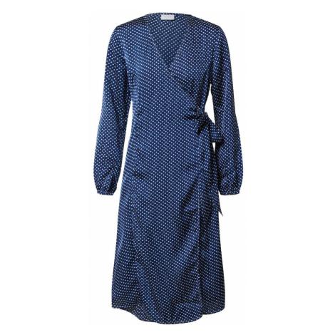 VILA Sukienka 'VIDOTTA L/S WRAP MIDI DRESS/KA' biały / granatowy