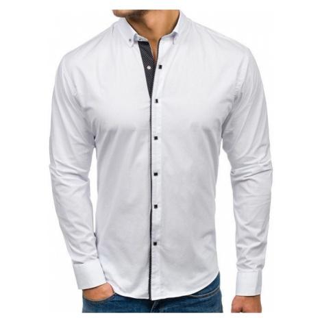 Koszula męska elegancka z długim rękawem biała Bolf 7714