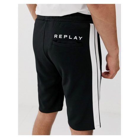 Replay taped shorts in black