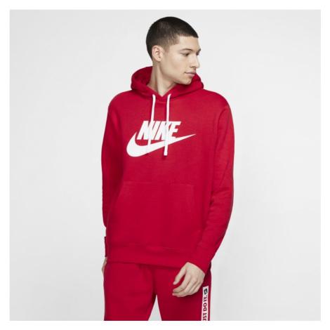 Męska bluza z kapturem i grafiką Nike Sportswear Club Fleece - Czerwony