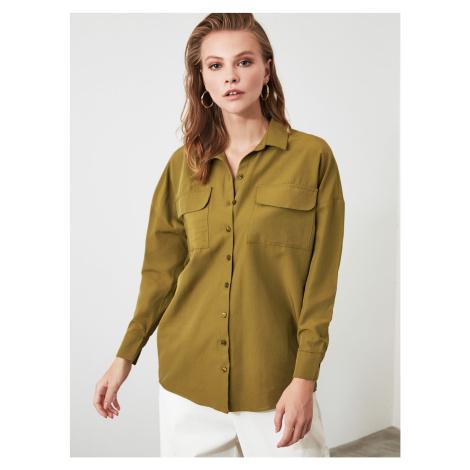 Luźna koszula w kolorze khaki Trendyol