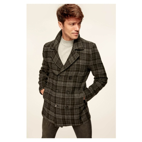 Trendyol Anthracite Mens Jacket-Plaid Double Breasted