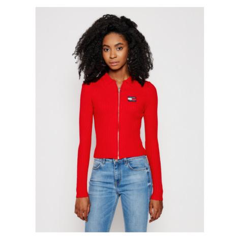 Tommy Jeans Sweter Zip Through DW0DW09803 Czerwony Slim Fit Tommy Hilfiger