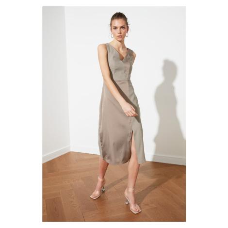 Trendyol Stone Slit Detail V Collar Dress