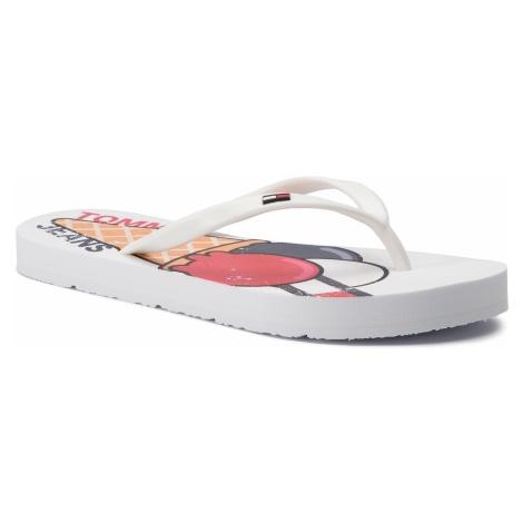 Japonki TOMMY JEANS - Ice Cream Beach Sandal EN0EN00467 White 100 Tommy Hilfiger