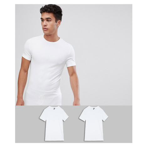 ASOS DESIGN 2 pack organic muscle fit t-shirt with crew neck save