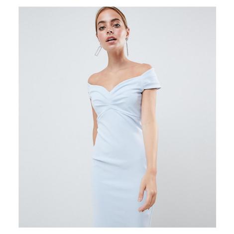City Goddess Petite Bardot Pencil Midi Dress