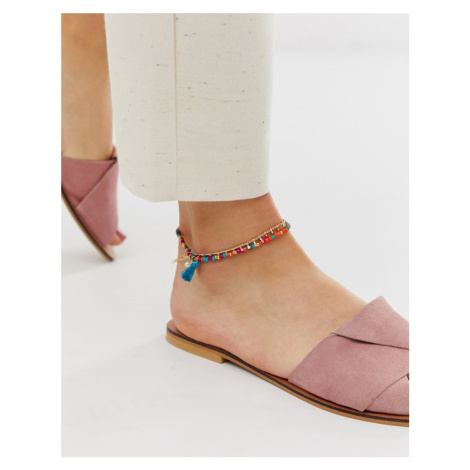 ASOS DESIGN multirow anklet with multicolour beads and faux shell tassel charms in gold tone