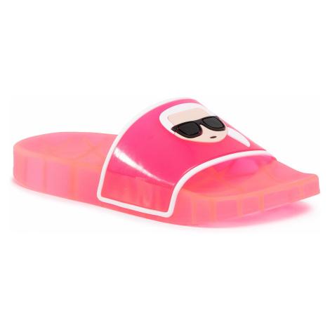 Klapki KARL LAGERFELD - KL80705 Hot Pink Rubber
