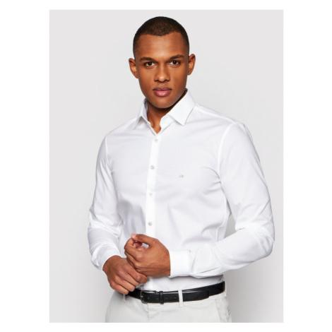 Calvin Klein Koszula Poplin Contrast K10K106917 Biały Extra Slim Fit